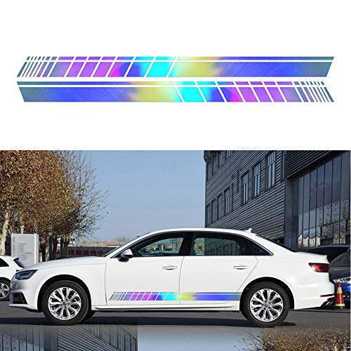 Wtimaal 2Pcs Car Side Stickers Universal Auto Vinyl Decals DIY Decoration Sticker Hood Mirror Body PVC Long Stripe Decals For Car Graphics Accessories Funny Family Car Stickers 150*9cm/59.06*3.54 inch
