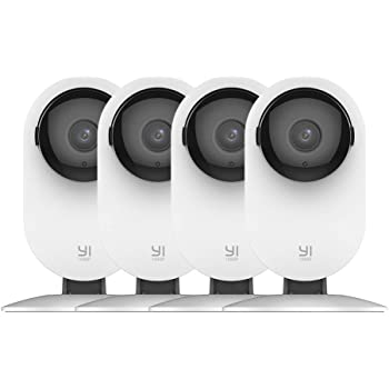 YI 4pc Home Camera, 1080p Wireless IP Security Surveillance System with Night Vision, Nanny Monitor on iOS, Android App, Cloud Service - Works with Alexa and Google Assistant