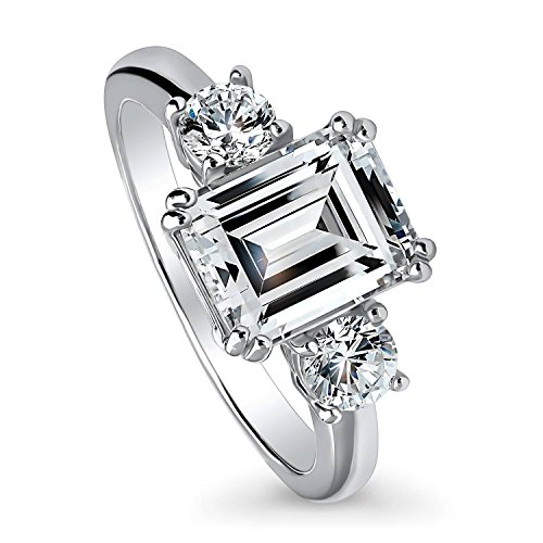BERRICLE Rhodium Plated Sterling Silver Emerald Cut Cubic Zirconia CZ 3-Stone Anniversary Promise Wedding Engagement Ring 3.1 CTW Size 8.5