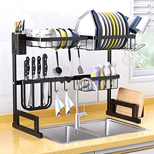 Dish Drying Rack Over Sink, Basstop Length Adjustable (25.6''≤Sink Size≤''33.5) Stainless Steel Above Sink Dish Rack Drainer Shelf with 2 Tier 6 Hook for Kitchen Counter Space Saving-Matte Black