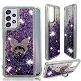 ZASE Samsung Galaxy A52 5G Clear Case Liquid Glitter Sparkle Bling Compatible with Galaxy A52-5G 6.5 inch 2021 Cute Girls Women Protective Flexible Cover Floating Quicksand w/Phone Ring Stand (Purple)