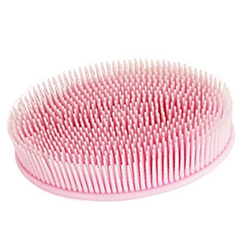 Demarkt 1 Pcs Brosse de Bain Gel de Silice Doux Brosse de Nettoyage Brosse Massage Portable Massage Brosse pour Le Corps Exfolier Gommage Outil 12 * 7 * 4cm (Rose)