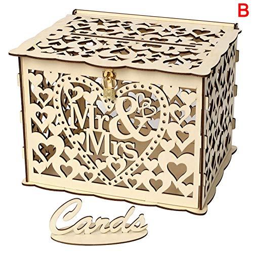 Henreal opbergdoos voor bruiloftskaarten, van hout, knutselen, met slot en gleuf voor de bruiloftsdecoratie, rustiek