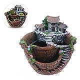 OULII Pflanzkübel Blumenkübel Blumentopf Pflanzen Topf Creative Pflanzen Topf Mini Fee Blumengarten und süßen Haus Dekoration
