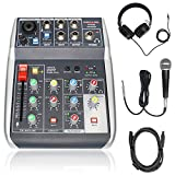 Phenyx Pro USB Audio Interface Audio Mixer Bundle, 4-Input, 3-Band EQ, Echo Effects, w/Dynamic Mic +...