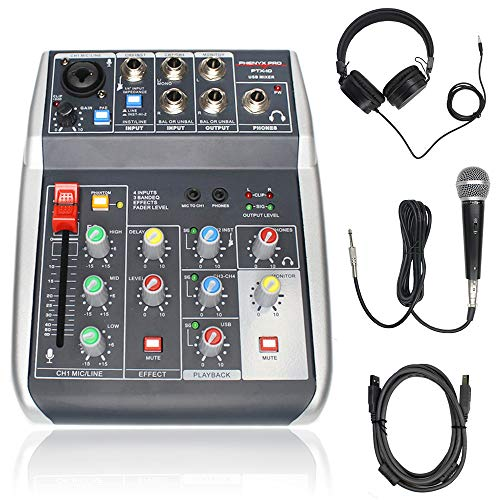 Phenyx Pro USB Audio Interface Audio Mixer Bundle, 4-Input, 3-Band EQ, Echo Effects, w/Dynamic Mic + Stereo Headphone + XLR Cable, for Live Streaming, Recording (PTX-10B)