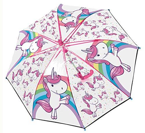 POS 28278 - Stockschirm mit Einhorn Motiv, Regenschirm für Mädchen, manuelle Öffnung und...