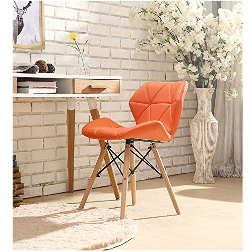 Household Table Back Wooden Chair, Casual net red Chair, Adult Dining Chair, Ergonomic Design, Kitchen Living Room Bedroom Stool,SHPEHP-Orange