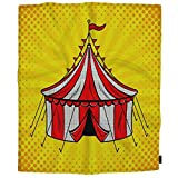 HOSNYE Circus Tent Kids Plush Fleece Throw BlanketRed and White Stripes Pop Art Retro Comic Book Style Blanket for Bed Couch Sofa Chair Travel 40x50 Inches