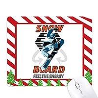 雪の冬のスポーツのイラストボード ゴムクリスマスキャンディマウスパッド