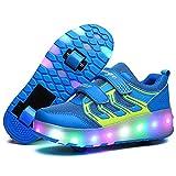 LuckyW 7 Farbe LED Leuchtend Schuhe mit Rollen Einziehbar Outdoor Sportschuhe Technisch Skateboardschuhe Sneakers mit Engelsflügel für Geburtstag Weihnachten BlauWS01 36
