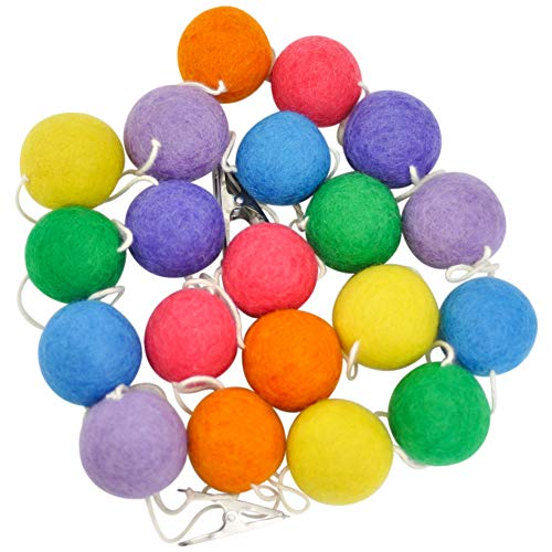 Wool Felt Ball Garland, Large 1.5' Pom Pom Garland Balls, 10' Long Pom Pom Banner, Colorful Garland, Rainbow Banner, Great for Kids Teepee Decorations, Pom Poms for Tree, Kid's Room and Nursery Decor