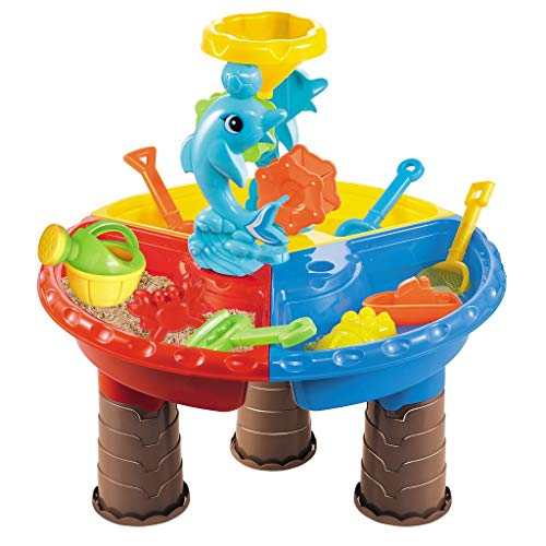 QIQIQIQI Kids Sand Table with Cover Water Table ,Sand Water Tables with Tool for Outdoor Toys for Toddlers Age 3-5,Easy to Carry,Perfect for Beach, Sand Beach,Best Gift for Child