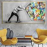 XIANGPEIFBH Decorazione Pittura Moderna Creativo Bansky Graffiti Colorato Street Art Poster E Stampe Parete su Tela per Soggiorno 60x120 cm Senza Cornice