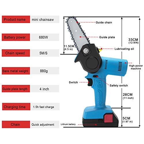 PANZHENG Upgrade Mini Chainsaw 4-Inch Cordless Electric Hand Chain Saw with Higher Power Motor Chainsaw for Tree Branch Wood Cutting - blue 680w (2 Batteries 2 Guide Bars and 2 Chains)