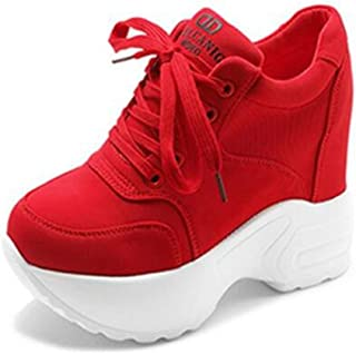 Women Wedges Sneakers Fashion Solid Color Sewing Canvas Lace Up Walking Shoes Hidden Heel 10 cm Female Casual Platform Shoes (Color : Red, Size : 5 UK)