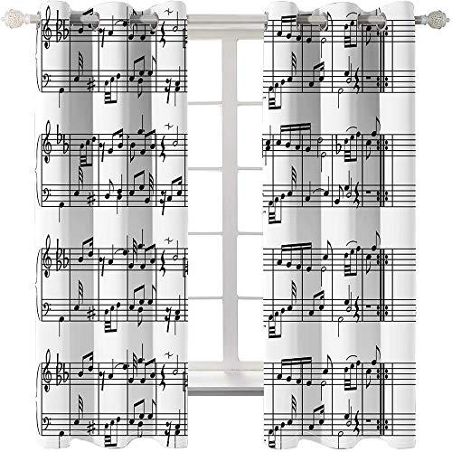 KHGAHD Cortinas De Sombreado De Notas Musicales Cortinas De Dormitorio con Aislamiento Térmico Súper Suave Luces De La Sala Cortinas De Sombreado-75cmx166cmx2pcs