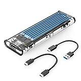 【NVMe&SATA両対応】ORICO USB3.1 M.2 SSDケース (B Key/M Key/B&M Key)SSD対応 USB3.1 Gen2 10Gbps 外付けケース UASP Trim 対応 2230/2242/2260/2280 SSD対応 ダブルケーブル付属 M.2 SSD 変換アダプタ 透明 TCM2M-BL