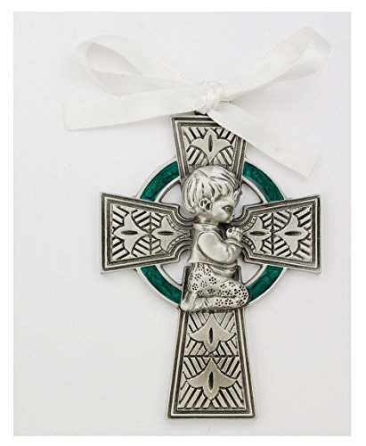 Baby Boy Crib Celtic Cross Silver and Green with White Ribbon