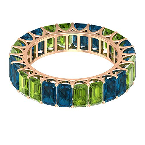 Solid Gold 9.00 CT Peridot Blue Topaz London Eternity Ring, Antique Women 5x3mm Octagon Shape Birthstone Promise Matching Rings, Bridal Proposal Rings, 18K Rose Gold, Size:UK R1/2