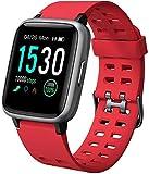 Yamay - Smartwatch da donna, impermeabile, IP68, cardiofrequenzimetro, pedometro, per bambini, per sport, fitness, cronometro, per Android, iPhone, Samsung, Huawei, Xiaomi, TE020-RD-FR, ross