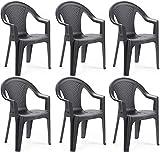 MAURY'S Set Sedie da Giardino Kora in Polipropilene 55 X 54 X 82 Cm (Antracite, 6)