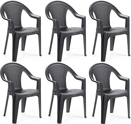 MAURY S Set Sedie da Giardino Kora in Polipropilene 55 X 54 X 82 Cm (Antracite, 6)