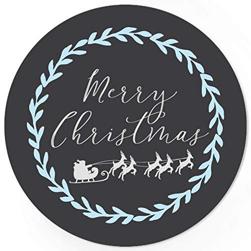 48 Weihnachtsaufkleber Weihnachtsschlitten mit Rentieren und Merry Christmas - für Geschenke zu Weihnachten/Sticker/Aufkleber/Etiketten/Geschenkaufkleber rund/Set