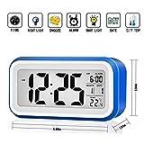 目覚まし時計 Tsumbay デジタル時計 置き時計 バックライト アラーム機能付き 多機能 温度表示 大きい文字 見やすいLED液晶画面 光センサー 大音量 (ブルー)