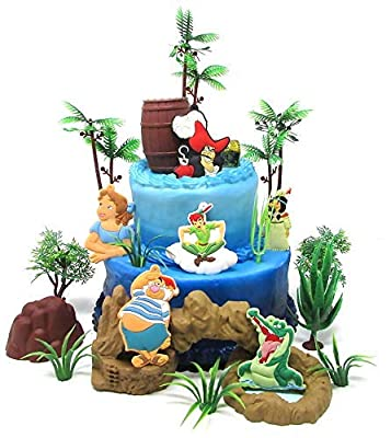 PETER PAN Themed Birthday Cake Topper Set Featuring Peter Pan and Friends with Decorative Themed Accessories