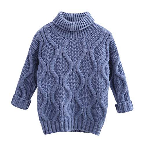 FeiliandaJJ Mädchen Jungen Rollkragen Pullover Langarm Herbst Winter Warm Strickpullover Kinder Baby Gestrickt Sweatshirt T-Shirt Sweater Pullis (110(3-4 Jahre), Blau)