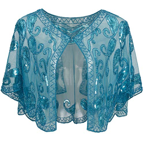 BABEYOND 1920s Shawl Wraps Sequin Beaded Evening Cape Bridal Shawl Bolero Flapper Cover Up (Lake Blue)