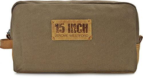 15 INCH BY JEROME WESTFORD, Trousse de toilette Unisexe en cuir toile, sacs à cosmétiques, 30 x 16,5 x 8,5 cm (l x H x P), couleur: Kaki