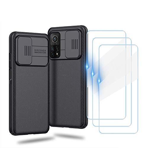 WeiCase Funda para Xiaomi 10T/10T Pro Case, Premium Delgado Carcasa Rígida PC con Cubierta Deslizante para Cámara [3 Pack Protector Pantalla], Anti-Shock Case para Xiaomi 10T/10T Pro, Negro