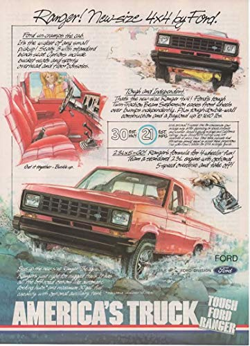 Set of 2 Original Magazine Print ads: 1983 Ford Ranger 4X4 Pickup 2.3L V-6,'Tough Ford Ranger. New Size 4X4 by Ford. America's Truck. Built Like the Big Ones'