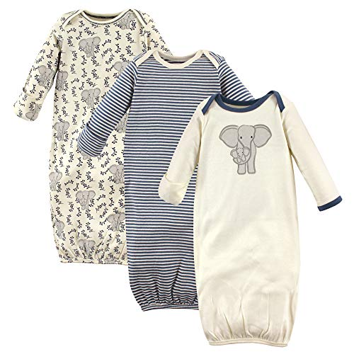 Touched by Nature Unisex Baby Organic Cotton Gowns, Elephant, 0-6 Months US