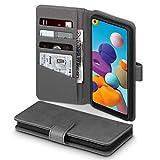 TERRAPIN, Kompatibel mit Samsung Galaxy A21 Hülle, [ECHT Leder] Brieftasche Hülle Tasche mit Standfunktion Kartenfächer & Bargeld - Grau