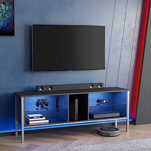 BESTIER 63 Modern TV Stand 20 Color LED Entertainment Center,TV...
