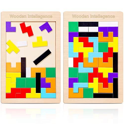 2 Pack Tetris Holz Tangram Kinder Pädagigisches Spiel bunt Holzpuzzle geometrisch Formen mit Box Knobelspiel