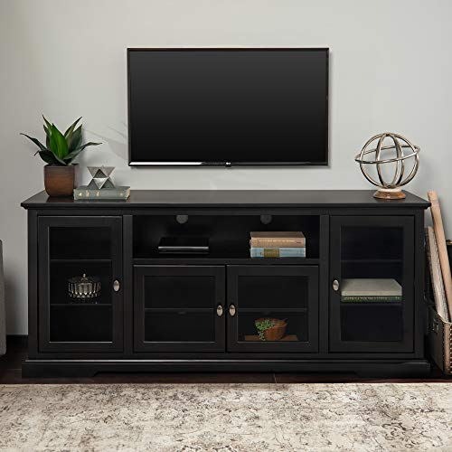 Unknown1 70-inch Black Highboy Tv Stand Console Modern Contemporary Transitional Glass MDF Wood Finish Adjustable Shelving Doors