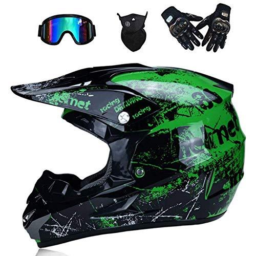 CHEYAL Adult Motocross Helm MX Motorradhelm ATV Scooter ATV Helm D. O. T Zertifiziert Rockstar Multicolor Mit Brillen Handschuhe Maske (S, M, L, XL),M