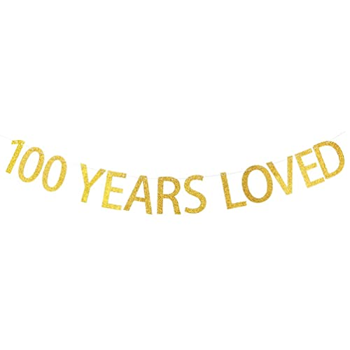 INNORU 100 Years Loved Banner Gold Glitter Sign