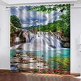 RXWZRL Cortinas Salon Dormitorio Modernas 3D Vista Del Lago De La Cascada Del...