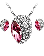 Swarovski Elements 18K White Gold Plated Jewelry Set encrusted With Matching Earrings SWR-257