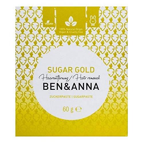 Ben&Anna - Azúcar Dorada - Depilación con Caña de Azúcar Natural - Depilación Localizada - Axilas, Bigote, Bikini - Caña de Azúcar Activa y Jugo de Limón - Ideal para Zonas Sensibles- Pasta Azúcar 60g