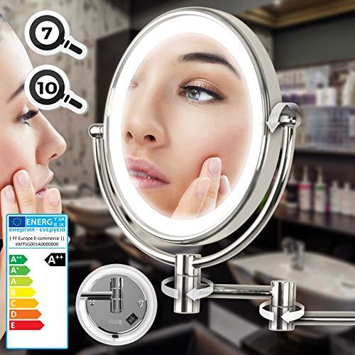 Aquamarin Kosmetikspiegel - EEK: A++ - mit 7- Fach Zoom, Ø 20cm, LED-Beleuchtung, Wandmontage, 3-Fach Gelenkarm - Schminkspiegel, Vergrößerungsspiegel, Rasierspiegel, Badspiegel, Wandspiegel, Make up