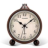 "Peakeep 4"" Battery Operated Antique Retro Analog Alarm Clock, Small Silent Bedside Desk Gift Clock"