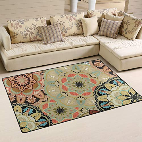 FOLPPLY Vintage Ethnic Boho Floral Print Area Rug, Non-Slip Carpet Floor Mats for Indoor Outdoor Front Door Bathroom Home Decor, 3