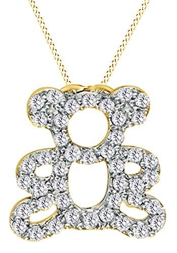 AFFY  -  925 Sterling-Silber  18K gelbvergoldetes Silber Rundschliff   Leicht Getöntes Weiß/Crystal (J) Diamant