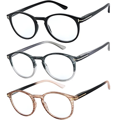 Success Eyewear Reading Glasses Set of 3 Great Value Quality Readers Spring Hinge Glasses for Reading Men and Women +1.75